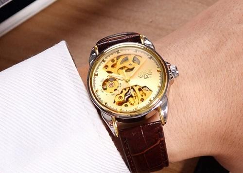 đồng hồ cơ da cá sấu